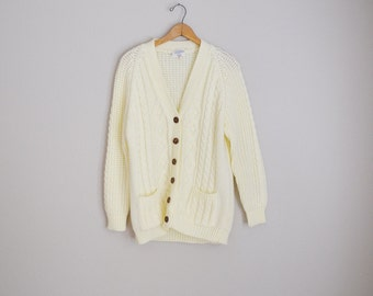 Vintage 70s Ivory Acrylic Cardigan Sweater Oversized Boyfriend Cardigan Button Down // womens medium large