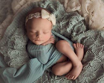 Baby Girl Gold Headband, Gold Newborn Headband, Baby Bow Headband, Newborn Photo Prop, Baby Head Bows, Girls Headband, Baby Shower Gift