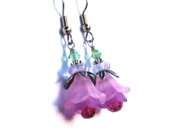 Layered lucite flower earrings, lilac ruby colors, antique silver, Austrian crystal, colorful frilly flower jewelry, Spring gift for her
