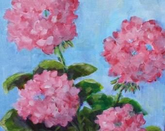 Geranium painting - original acrylic - fine art still life - wall art canvas - still life floral - summer flowers - pink flowers