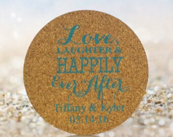 Wedding Coasters 50 Wedding Favors Custom Personalized Cork Drink Coaster - Personalize with any wording!