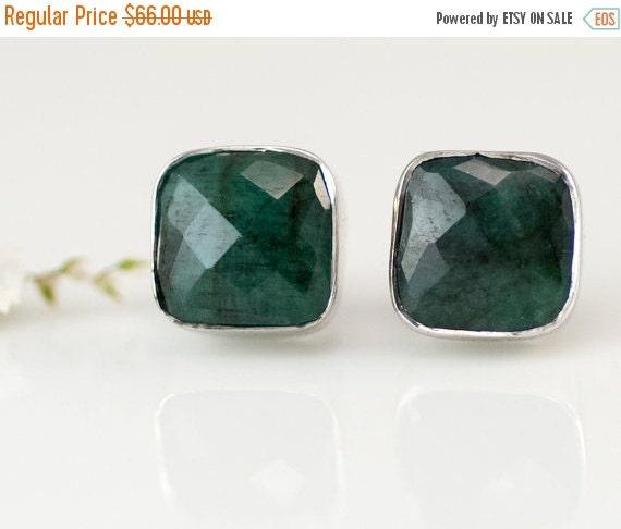 Sale Raw Emerald Stud Earrings May Birthstone Stud By Delezhen