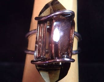 SMOKY QUARTZ RING huge crystal size 7.5 up to size 8 sterling silver