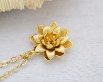 Gold Lotus Flower Necklace, 14K Gold FIlled Chain, Water Lily Flower Pendant, Beauty Life, Gift Under 35