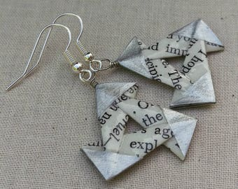 Literary Triangles // Silver Origami Earrings