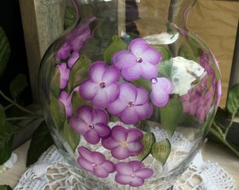 Hand painted vase - purple forget me not flowers with jewel centers