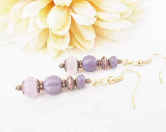 Lavender Bridesmaid Earrings, Bronze Lilac Crystal Boho Dangle Earrings, Light Purple Spring Wedding Jewelry, Gift for Mother of the Bride