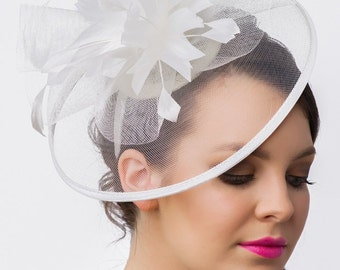 Isla Fascinator - Pearl White