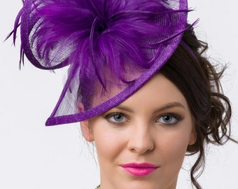 "Royal Purple Fascinator - ""Victoria"" Twist Mesh Fascinator embellished with Fluffy Feathers on a Headband"