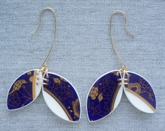 Guilded Forest Double Earrings Broken Recycled China Jewelry Material and Movement
