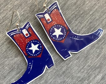 Cowboy Boots Recycled Vintage Tin