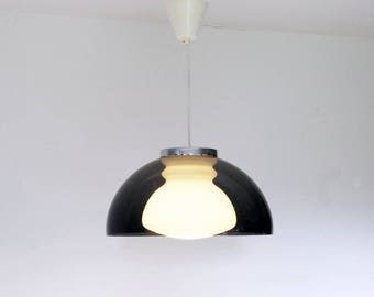 Vintage 1970s Pendant Light - Grey Perspex & Chrome - Ceiling Light - Retro