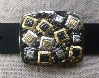 Black, Gold and Silver Square Belt Buckle