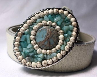African Opal and Coral Chunk Belt Buckle