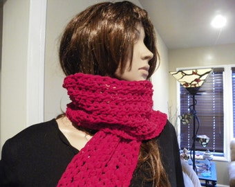 Red Scarf Neck Warmer made with Suede Yarn that is very Soft Ready to Ship