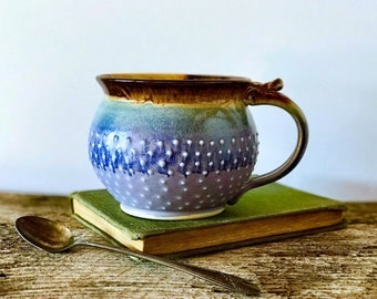 MADE TO ORDER...One Handmade Pottery Coffee Mug / 8, 12, 16, or 20 ounces / Porcelain Dot Mug, Lavender and Mocha Cream