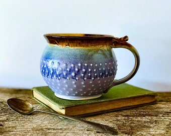 MADE TO ORDER...One Handmade Pottery Coffee Mug / 8, 12, 16, or 20 ounces / Round and Dotty, Lavender and Mocha Cream