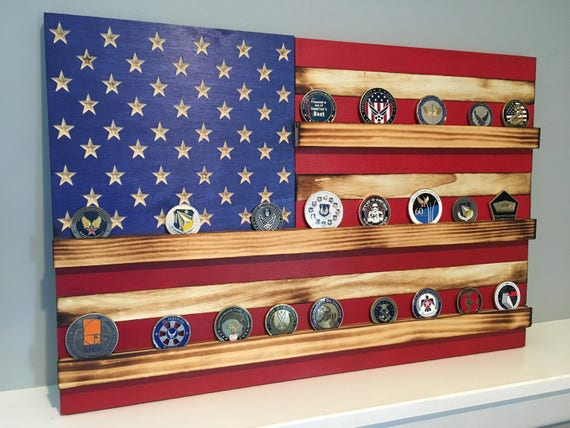 American Flag Challenge Coin Display Rack
