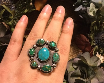 Turquoise star cluster ring