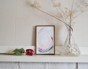 The Opening, Abstract Painting by Pamela J. Bates, Blush Abstract Modern Painting, Abstract Flower