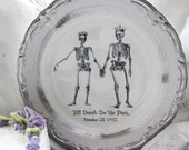 Customizable Skeleton Wedding Couple China Bride & Groom Till Death Dinnerware / Dishes / Plates, Bespoke Wedding, Skull Wedding, Til Death