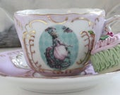 Marie Antoinette Teacup & Saucer, Pink and Gold, TEA SET AVAILABLE (7 Pieces), Marie Teacup, Marie Antoinette Tea Set, Customizable