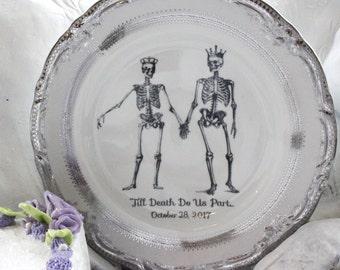Customizable Skeleton Wedding Couple China Bride & Groom Till Death Dinnerware / Dishes / Plates, Bespoke Wedding, Skull Wedding, Til Death