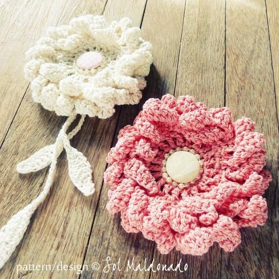 Flower Crochet Pattern PDF - Peony easy, beginner  crochet pattern - Instant DOWNLOAD