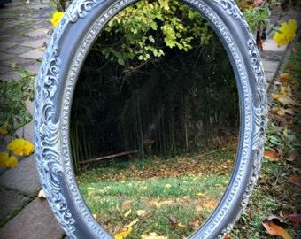 Gray Oval Mirror Vanity Hall