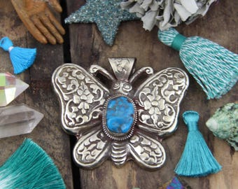 Tibetian Turquoise Butterfly : Nepali Silver Relief Handmade Large Pendant, Tribal Jewelry Making Supply, Boho, Bohemian Summer Fashion