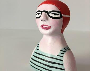 Clay figurine // SWIMMER 88 clay sculpture // grey-blue black striped bathing suit // red swim cap & goggles // original art // totem