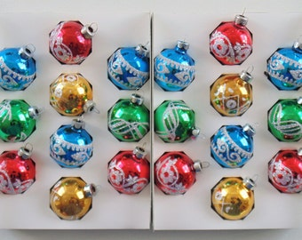 20 Vintage Holly Stenciled Glass Ornaments In 2 Original Boxes Red Green Blue & Gold VERY NICE