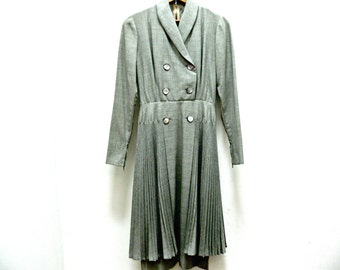 1950s Gray Wool Dress - Double Breasted - Pleated Skirt - Vintage Tailor Made - Size Small