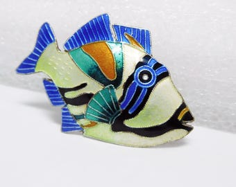 Enamel Fish Brooch Vintage Sterling and Bright Enamel Tropical Yellow Blue Green