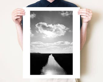 Black and white marshes landscape photograph, monochrome fine art photography. Dark Norfolk coastal artwork. Small / large format print