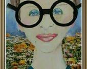 Iris Apfel Fashion Icon Original Woman Portrait. Mixed Media. Interior Design,  Wall Decor. Abstract Small Art . Art Gift.