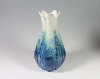 Turquoise Crystalline Glazed Pod Vase