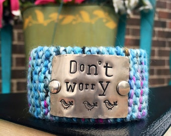 Custom Stamped Dont Worry Robin Blue Bracelet, Personalized Christian Knitted Bracelet, Teachers Gift