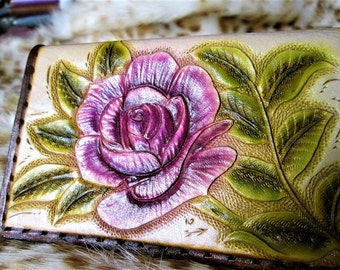 Purple wallet, floral wallet, custom tooled,leather, leather card case, purple business, floral case, womens wallet