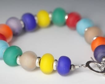 Rainbow Multi Color Colorful Lampworking Beaded Sterling Silver Toggle Clasp Bracelet