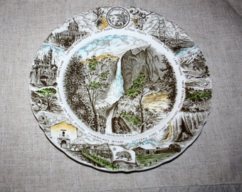 Vintage Discontinued Johnson Brothers England The Great State of California Collectors Plate Yosemite Falls Ironstone