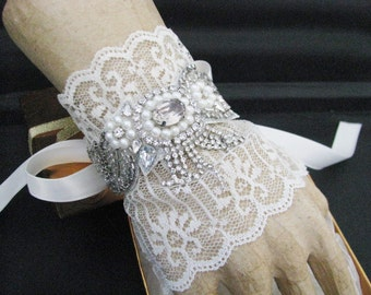 rhinestone wedding bracelet, Bridal bracelet,  crystal bracelet, bridal jewelry, ribbon lace bracelet, bridesmaid bracelet, crystal wedding