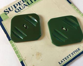 Vintage 1930s Square Art Deco Buttons Large