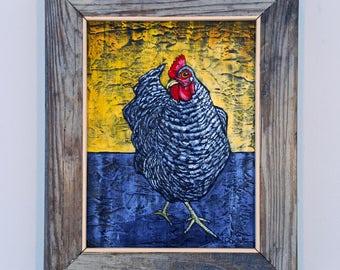 Framed Chicken Painting Original Folk Art on Textured Canvas