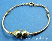Peas In A Pod, Two peas in a pod bracelet, Gold pea pod bracelet, Pea Pod Jewelry, Choose Your Color