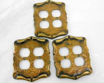 Vintage double outlet cover Amerock Carriage House electrical outlet cover antique brass architectural salvage antique brass cover