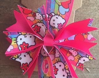 Hello Kitty Hair bow, spike hair bow, girly hair bow, cheap hair bow, girl's hair bow,  pink hair bow