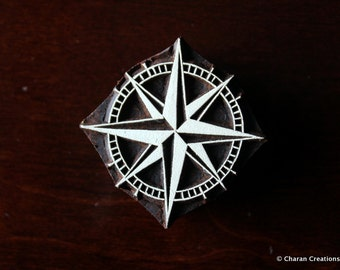 Hand Carved Stamp, Indian Wood Stramp, Textile Stamp, Pottery Stamp- Compass