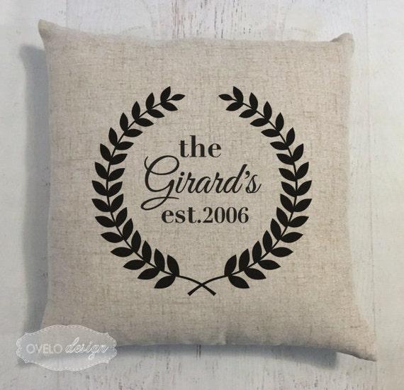 Custom Last Name Linen Style Pillow Wedding or Anniversary Gift