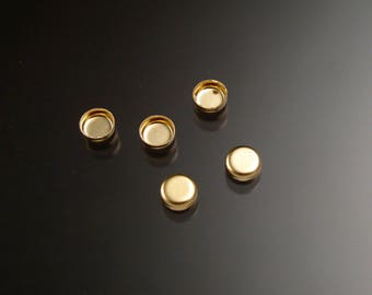 14k gold filled 4mm round non serrated bezel cups parcel of five